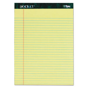 Tops Docket Ruled Perforated Pads 8 1 2 X 11 3 4 Canary 50 Sheets 6 pack 63406