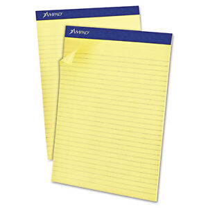Ampad Recycled Writing Pads 8 1 2 X 11 3 4 Canary 50 Sheets Dozen 20270