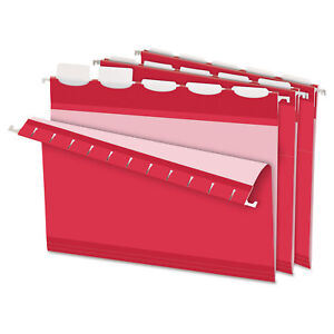 Pendaflex Colored Reinforced Hanging Folders 1 5 Tab Letter Red 25 box 42623