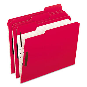Pendaflex Colored Folders With Embossed Fasteners 1 3 Cut Letter Red grid