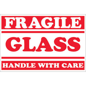 Tape Logic Labels fragile Glass Handle With Care 2 X 3 Red white 500 roll