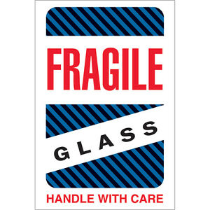 Tape Logic Labels fragile Glass Handle With Care 4 X 6 Multiple 500 roll