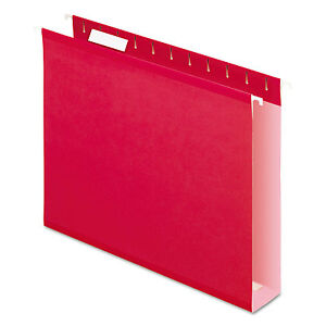Pendaflex Reinforced 2 Extra Capacity Hanging Folders 1 5 Tab Letter Red 25 box
