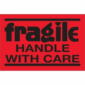Tape Logic Labels fragile Handle With Care 2 X 3 Fluorescent Red 500 roll