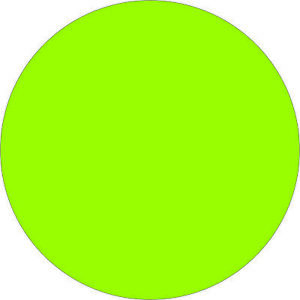 Tape Logic Removable Labels 2 Circle Fluorescent Green 500 roll Dl1390fg