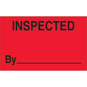 Tape Logic Labels inspected 1 1 4 X 2 Fluorescent Red 500 roll Dl1182