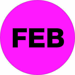 Tape Logic Months Of The Year Labels feb 1 Circle Fluorescent Pink 500 roll