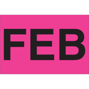 Tape Logic Months Of The Year Labels feb 2 X 3 Fluorescent Pink 500 roll