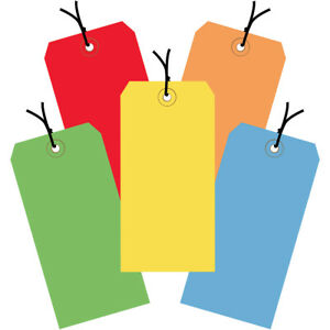 Box Partners Shipping Tags Pre strung 13 Pt 6 1 4 X 3 1 8 Assorted Color 1000