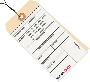 Box Partners Inventory Tags 2 Part Carbonless 8 Pre wired 7000 7499 6 1 4 X