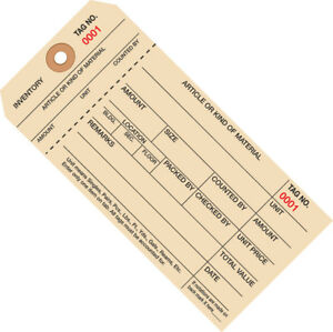 Box Partners Inventory Tags 1 Part Stub Style 8 7000 7999 6 1 4 X 3 1 8