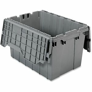 Akro mils Attached Lid Container 12 Gal Gray 39120grey