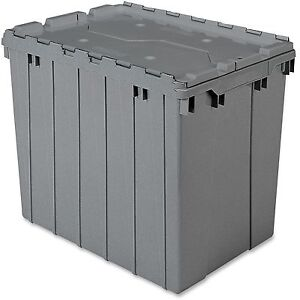 Akro mils Attached Lid Container 17 Gal Gray 39170grey