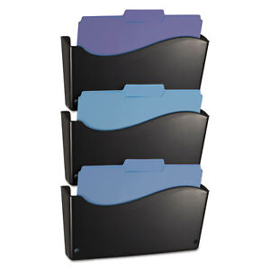 Officemate 2200 Series Wall File System Letter Black 3 pack 22382
