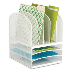 Safco Onyx Mesh Desk Organizer Eight Sections 11 1 2 X 9 1 2 X 13 White 3266wh