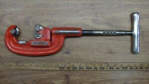 Ridgid Heavy Duty No 202 Wide Roller Pipe Tubing Cutter 1 8 2 excellent