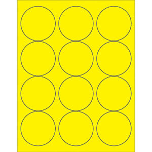 Box Partners Circle Laser Labels 2 1 2 Fluorescent Yellow 1200 case Ll194ye