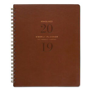 At a glance Signature Collection Distressed Brown Weekly Monthly Planner 8 3 4 X