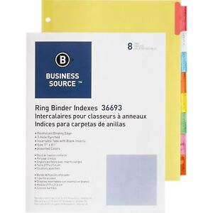 Business Source Ring Binder Indexes 1 1 2 Tabs 11 x8 1 2 8 tabs 50st bx Mi