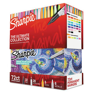 Sharpie Permanent Markers Ultimate Collection Fine Ultra Fine Assorted 72 set