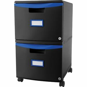 Storex File Cabinet Mobile 2 drawer 14 3 4 wx18 1 4 lx26 h Bk be 61314u01c