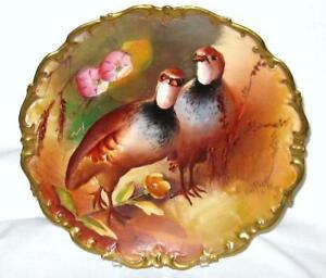 Antique Limoges Hand Painted Game Bird Charger Plate Gold Artist Signed