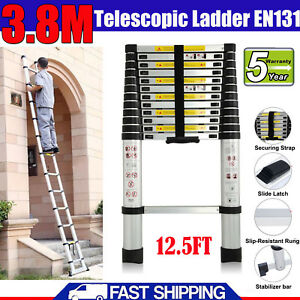 12 5ft Aluminum Multi purpose Telescopic Ladder Extension Foldable En131 330lb