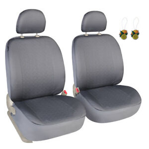 Pair Of Front Seat Covers For Cars Suv Trucks Universal Fit Grey Low Back