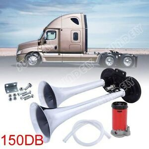 Us Universal Car Air Horn Compressor Kit Dual Trumpet Super Loud 12v 150db Truck