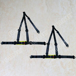 Pair 2 Nylon Strap 3 Point Shoulder Buckle Harness Bar Racing Seat Belt Black