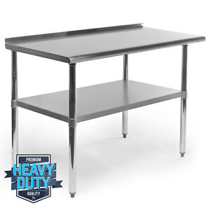 Open Box Stainless Steel Kitchen Work Prep Table With Backsplash 24 X 48