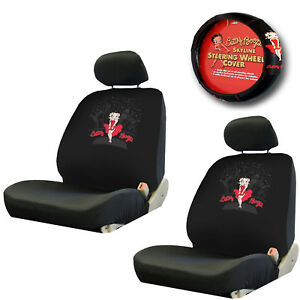 New 5pc Betty Boop Skyline Combo Seat Covers Steering Wheel Cover gift Set