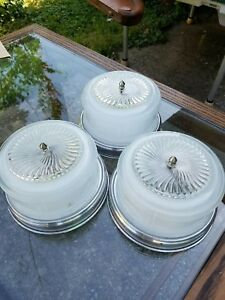 Three Mid Century Modern Art Deco Ceiling Light Fixtures W Slip On Shades