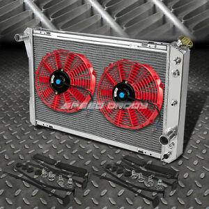 3 Row Aluminum Radiator 2x 10 Fan Kit Red For 82 92 Chevy Camaro Firebird V8