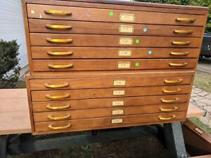 Wooden Hamilton Flat File Cabinet Red Oak Map Blueprint Plan 5 Drawer Unit