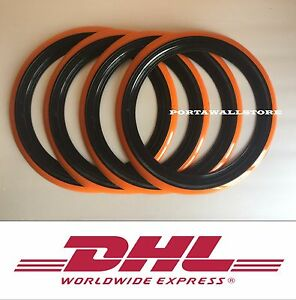 14 Orange Black Wall Portawall Tyre Insert Trim Set 4 Pcs Hot Rod Rat Rod