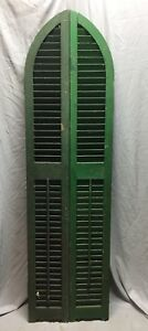 Antique Pair Arched Gothic Top Wood Window Louvered Shutters 10x73 Vtg 433 18c