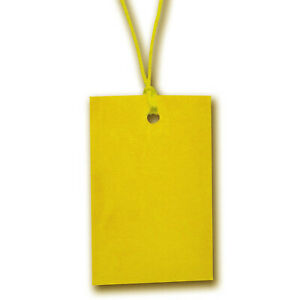 Yellow Stringed Card Clothing Tags 70mm X 45mm pack Of 500