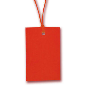 Red Stringed Card Clothing Tags 70mm X 45mm pack Of 500
