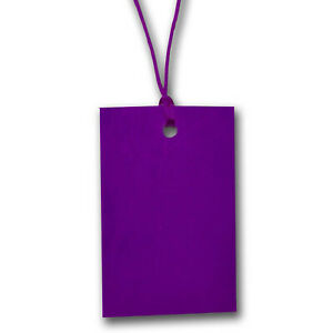 Purple Stringed Card Clothing Tags 70mm X 45mm pack Of 500