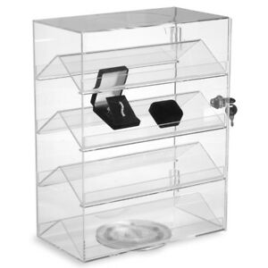 Small Rotating Acrylic Showcase Display 3 75 w Shelf Lock 13 25 wx7 dx17 h New
