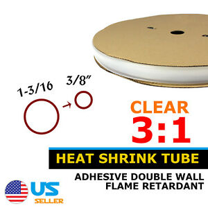 20ft 1 3 16 Clear 3 1 Heat Shrink Tube Electric Sleeve Wire Wrap Marine Tuner