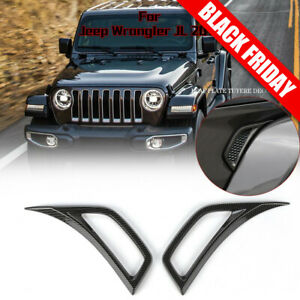 Carbon Fiber Car Leaf Plate Air Inlet Trim Cover For 2018 Jeep Wrangler Jl Parts