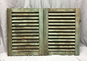 Small Pair Antique House Window Wood Louvered Shutters 19x24 Shabby Vtg 438 18c