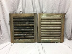 Small Pair Antique House Window Wood Louvered Shutters 19x21 Shabby Vtg 439 18c
