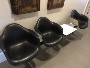 Tandem 3 Seat Shell Chairs By Charles Ray Eames For Herman Miller Plus Table