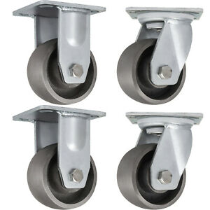 Heavy Duty Semi Steel Cast Iron Casters With 2 Swivel 2 Rigid 5 Set Of 4