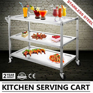 Stainless Steel Cart W one Handle 3 Shelf Restaurant Bus Serving Cart