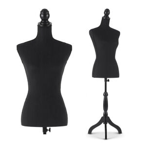 Female Mannequin Torso Dress Form With Wood Tripod Stand Adjustable Black V3q2