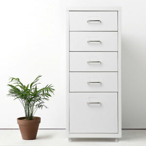 5 Drawers Metal Drawer Filing Cabinet Detachable Mobile File Cabinets White M7s5